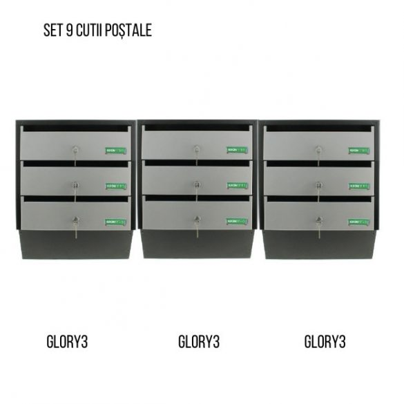 Cutie poștală Glory 3 Argintiu/ Negru   485 x 385 x 140 mm 3,8 kg