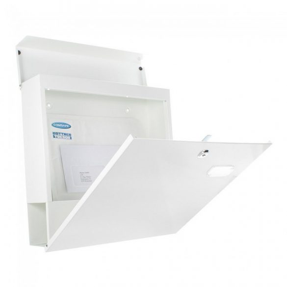 Cutie poștală Kensington alb cu suport ziare